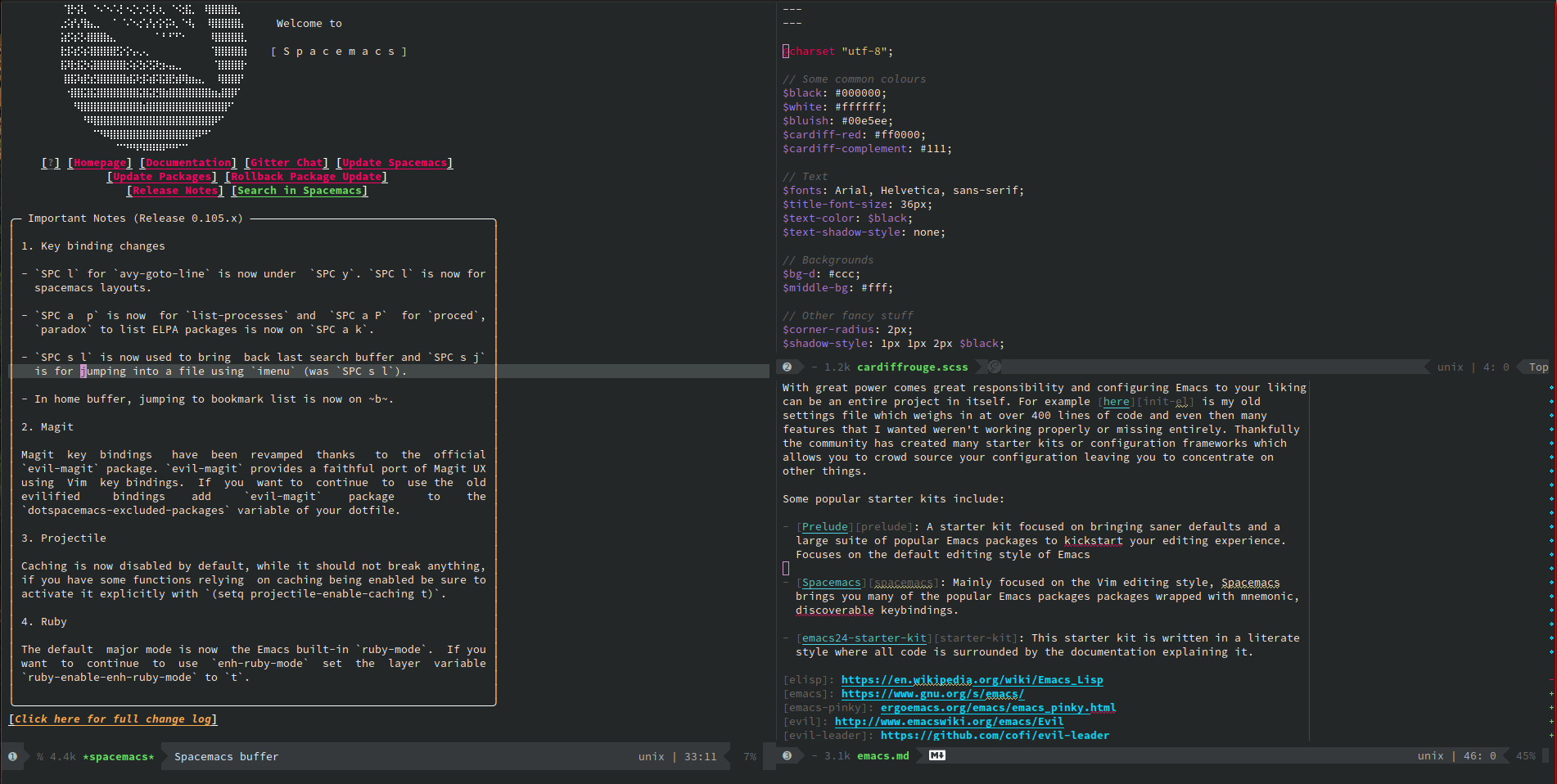Emacs with a custom configuration, using the Spacemacs starter kit